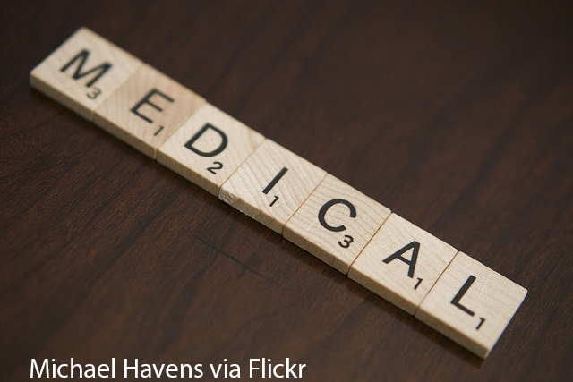 Medical written out with scrabble letters