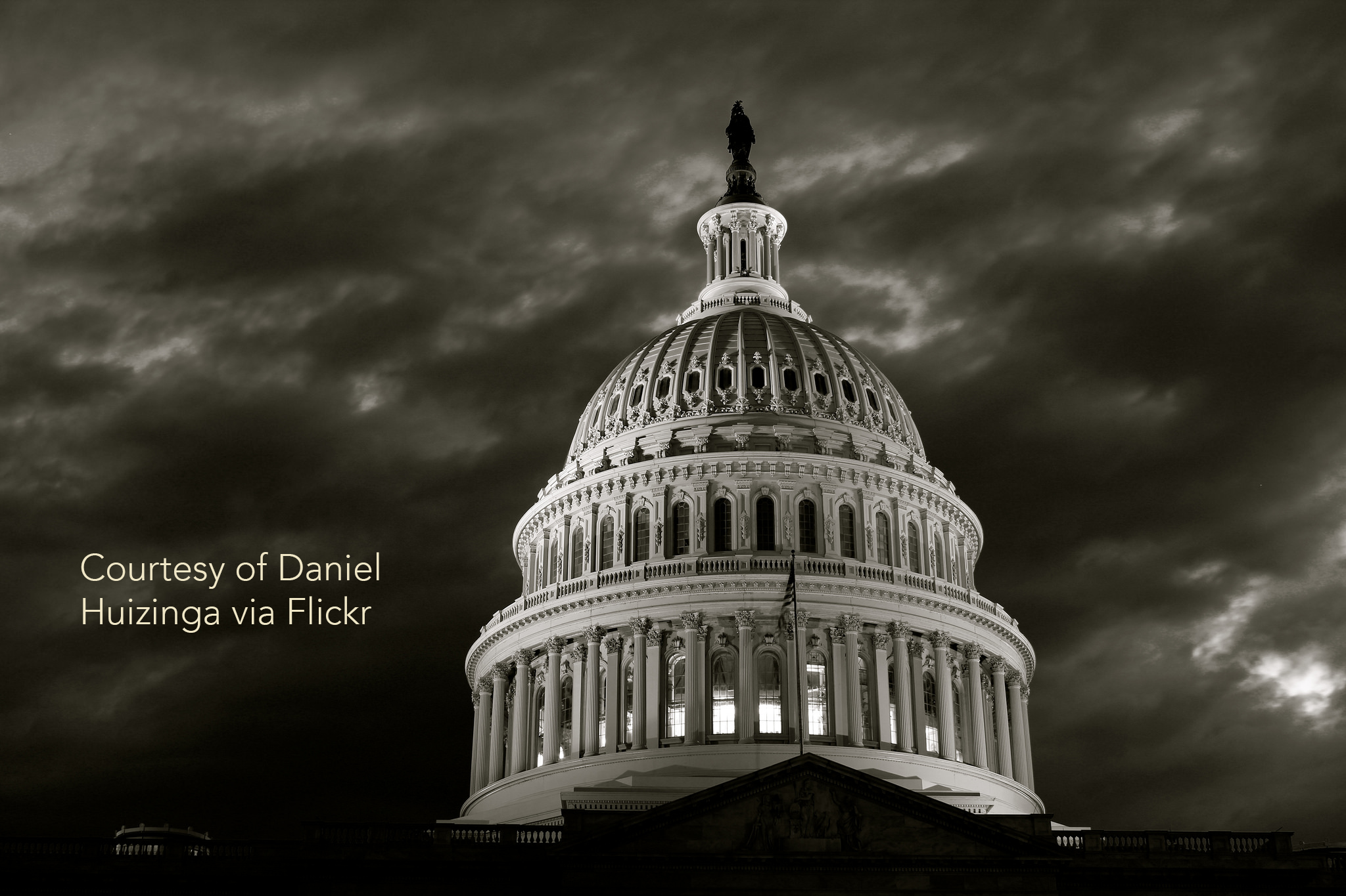 A dark portrayal of the capitol in washington D.C.