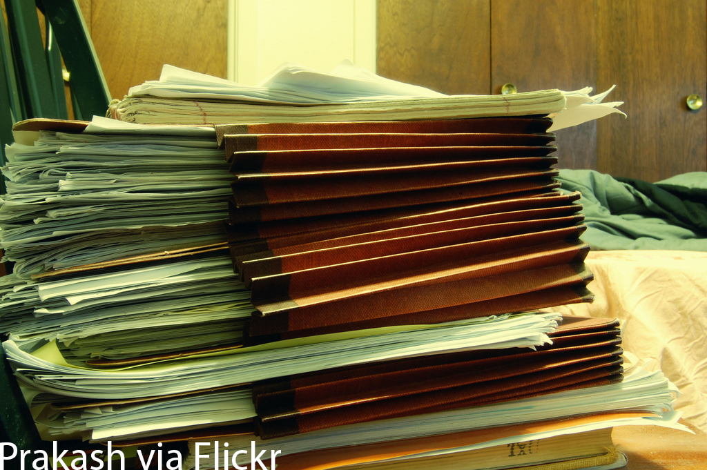 Stack of payroll paperwork