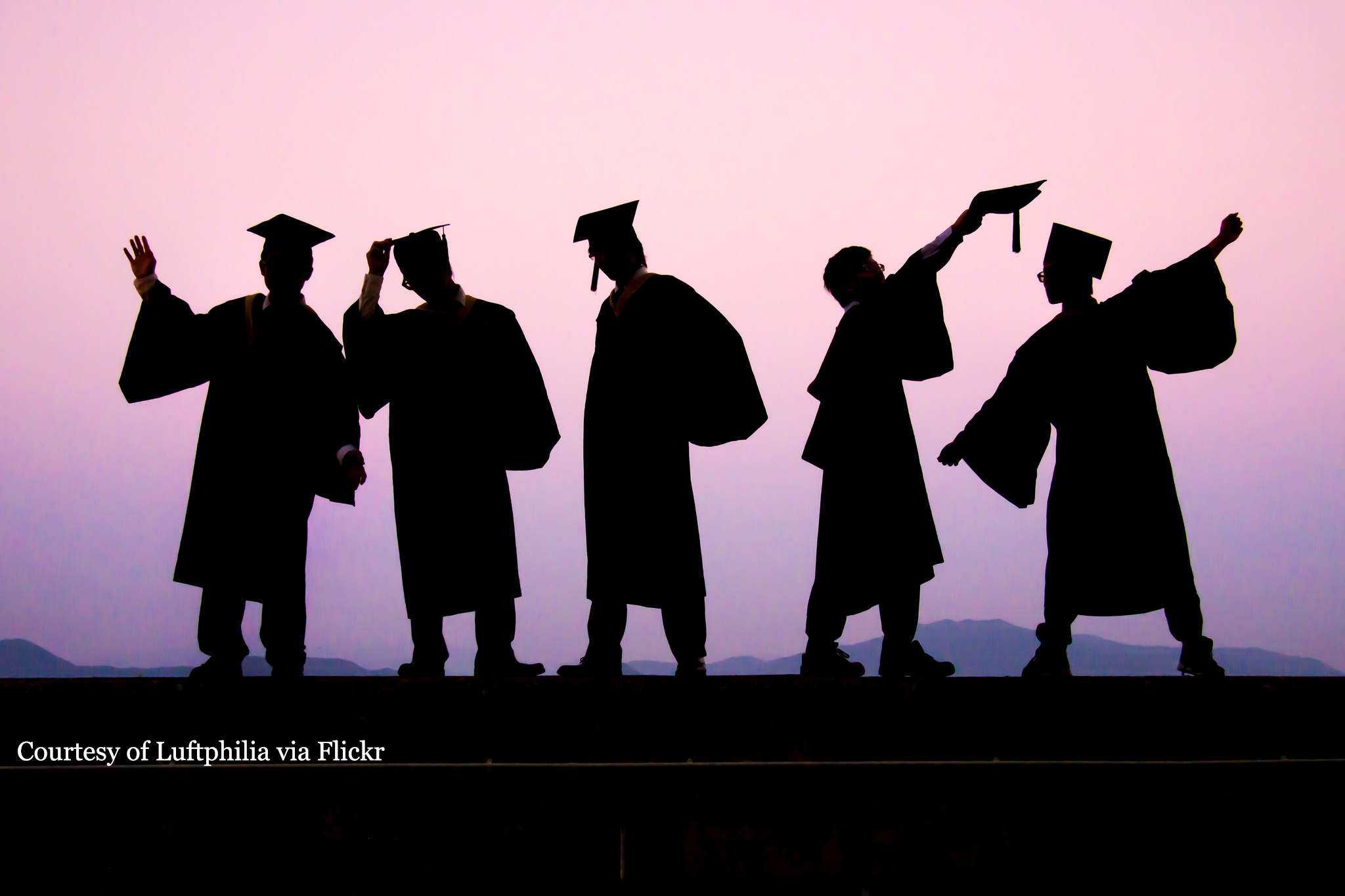 A group of seniors celebrating graduation