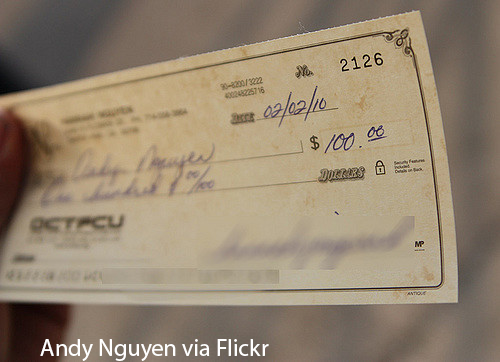 A paycheck to a salaried employee