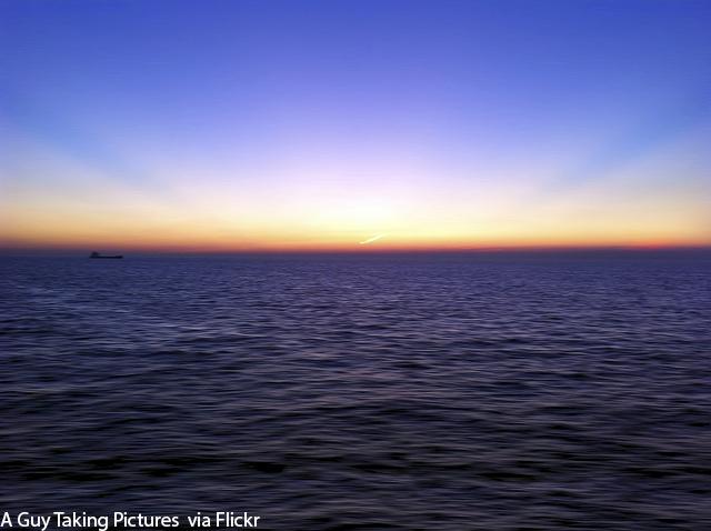 A summer sunset on the ocean