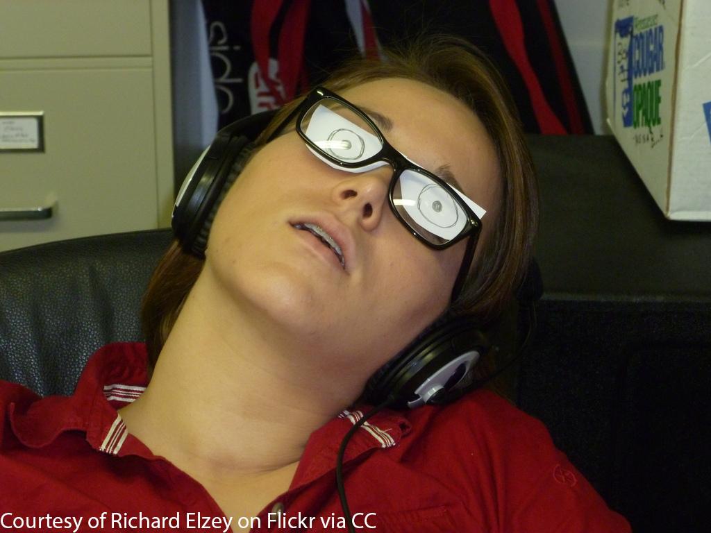 An unpaid intern asleep at work